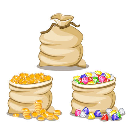 Bag full of multi-colored stones Diamonds and coin Illustration