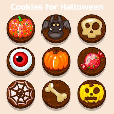 shortbread: Cartoon Cute funny Chocolate Halloween Cookies in vector