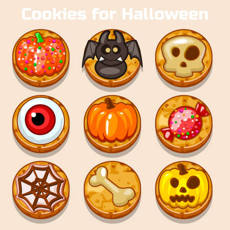 shortbread: Cartoon Cute funny Halloween Cookies in vector