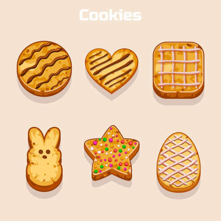 shortbread: Cookies in different shapes set in vector