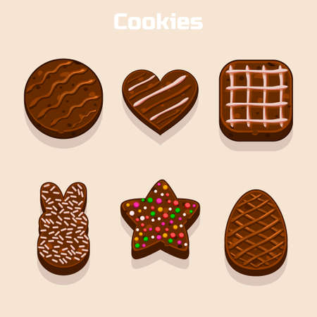 shortbread: Chocolate cookies in different shapes set in vector