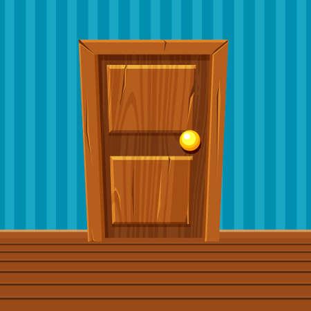 Cartoon Wooden Door, Home Interior in vector