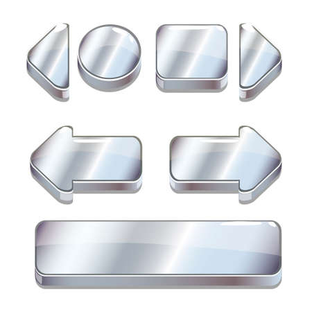 Vector Cartoon silver buttons for game or web design, gui elements set, gui elements set Stock Photo