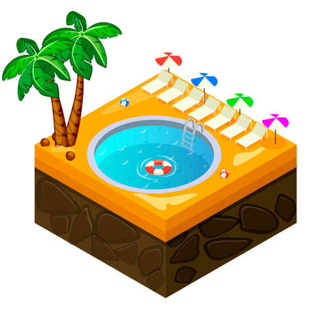 Isometric swimming pool on the beach in vector Illustration