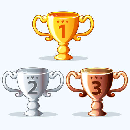 cartoon Colorful rewards, goblet - gold, silver and bronze