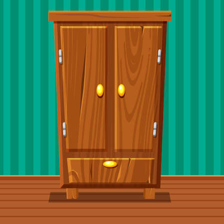 highboy: cartoon funny closed wardrobe, Living room wooden furniture in vector