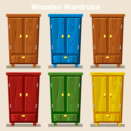 highboy: cartoon colorful closed wardrobe, Living room wooden furniture in vector