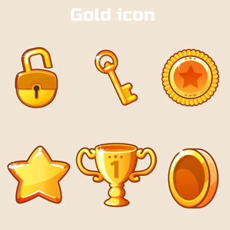 set gold icon four game in vector