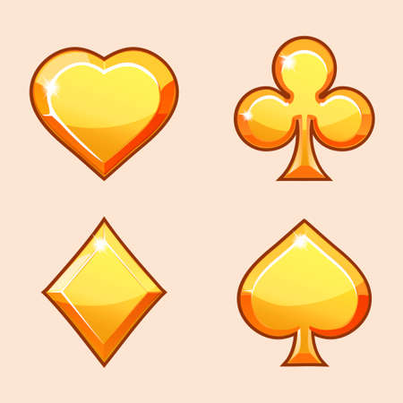 Vector set illustration of gold icons of playings cards, isolated on the white background. Series of Gaming and Gambling Illustrations Illustration