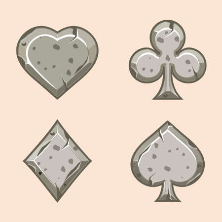 gambling stone: Vector set illustration of stone icons of playings cards, isolated on the white background. Series of Gaming and Gambling Illustrations