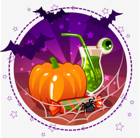 set of icons, cocktails and pumpkin for Halloween in vector Illustration
