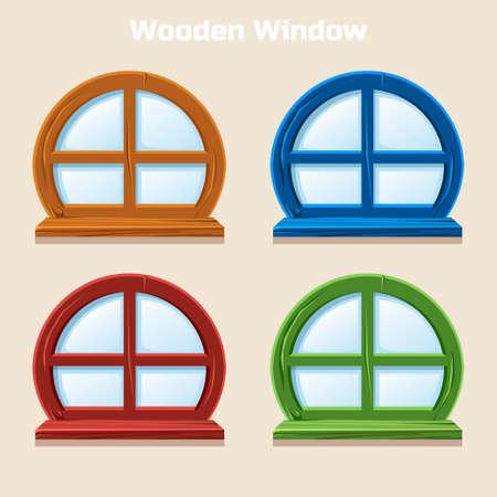 marcos redondos: Historieta redonda de madera Ventana de Colores, Interior de la casa en el vector