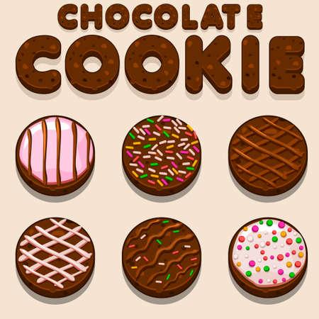 galleta de chocolate: Galleta del chocolate de dibujos animados, vector de cartas de alimentos biskvit en vector Vectores