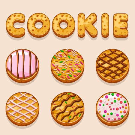shortbread: Cartoon cookie, biskvit vector food letters