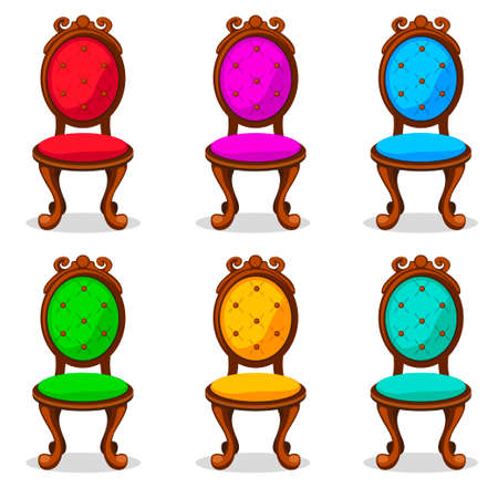 corduroy: cartoon colorful Retro chair in vector object Illustration