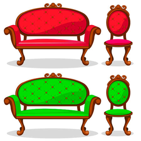 cartoon colorful Retro chair and sofa in vector