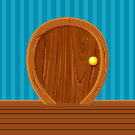 Cartoon Wooden Rounded Door For Ui Game, Home Interior