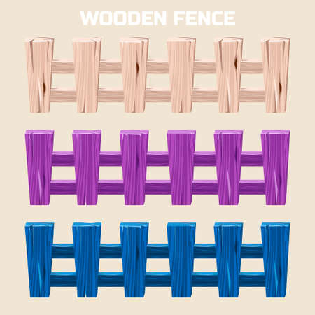 palisade: cartoon colorful wooden fence, set in vector