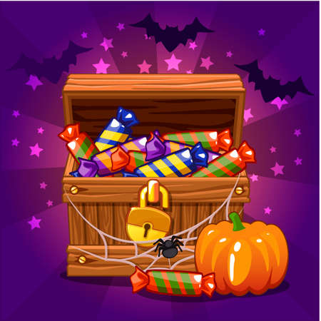 cobwebs: Open antique treasure chest with candy on Halloween, with cobwebs and bats, pumpkin Illustration