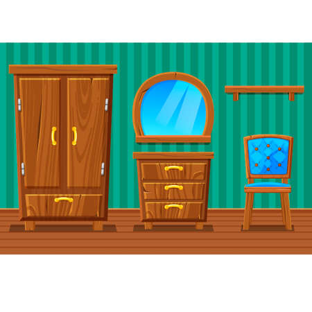 wooden furniture: Set cartoon funny wooden furniture , Living room in vector Illustration