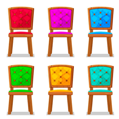 corduroy: cartoon colorful wooden chair in vector object Illustration