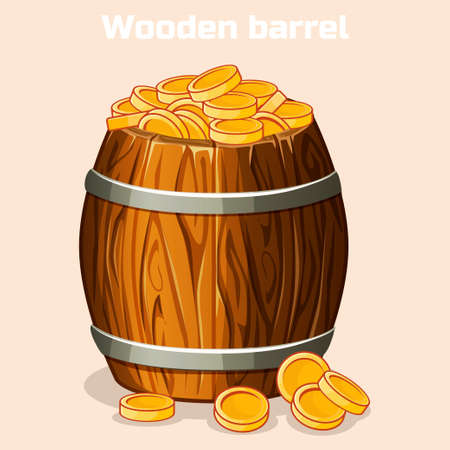 Cartoon wooden barrel full of gold coins, the game elements in vector Illustration