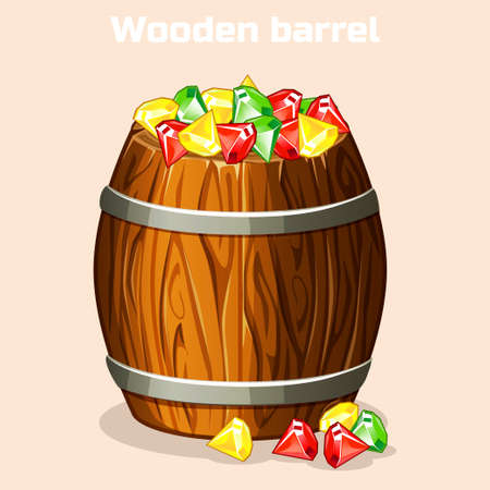 Cartoon wooden barrel full of colorful gems, game elements in vector Illustration