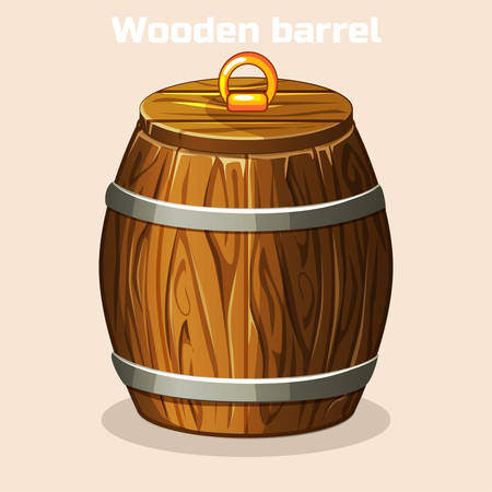 cartoon wooden barrel closed, game elements in vector Illustration