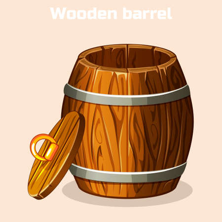 tun: cartoon open wooden barrel , game elements in vector Illustration