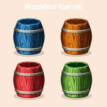 tun: colored cartoon wooden barrels, game elements in vector