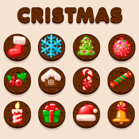 shortbread: Set Cartoon Christmas Chocolate biskvit cookies, food icons in vector