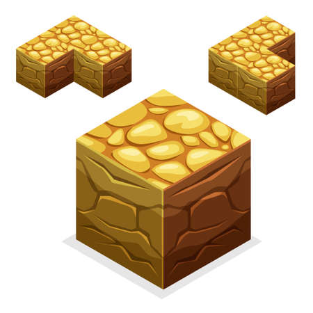 front or back yard: 3D Isometric Landscape Cube - Ground Grass Element. Icon Can be used for Game, Web, Mobile App, Infographics. Game asset. Illustration