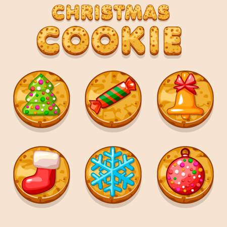 shortbread: Set Cartoon Christmas cookies, biskvit food icons in icons