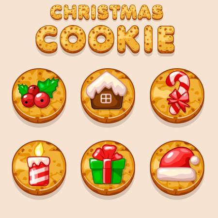 indulgence: Set Cartoon Christmas cookies, biskvit food icons in icons