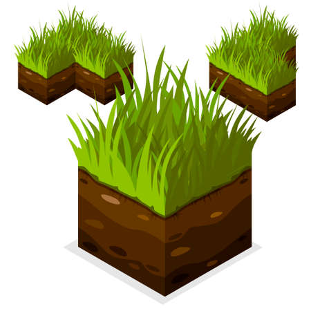 model kit: 3D Isometric Landscape Cube - Ground Grass Element. Icon Can be used for Game, Web, Mobile App, Infographics. Game asset. Illustration