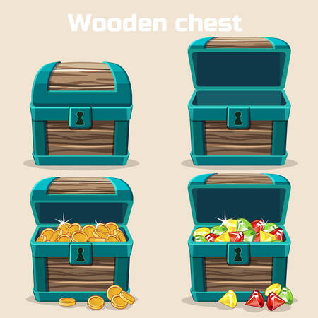 Opened and closed antique treasure chest. Vector illustration.