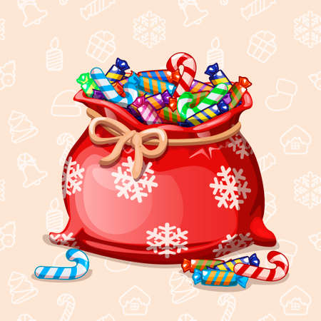 cartoon banner: cartoon full Chiristmas bag of with candy in vector