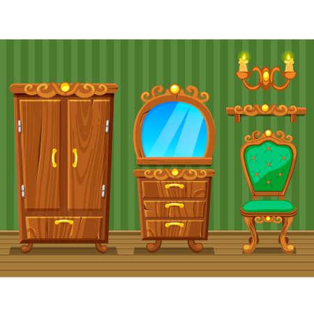 retro furniture: Set cartoon funny wooden Retro furniture, green Living room Illustration