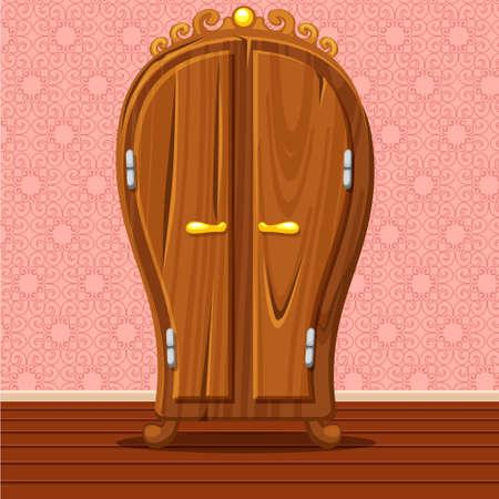 highboy: cartoon funny closed Retro wardrobe, Living room wooden furniture Illustration