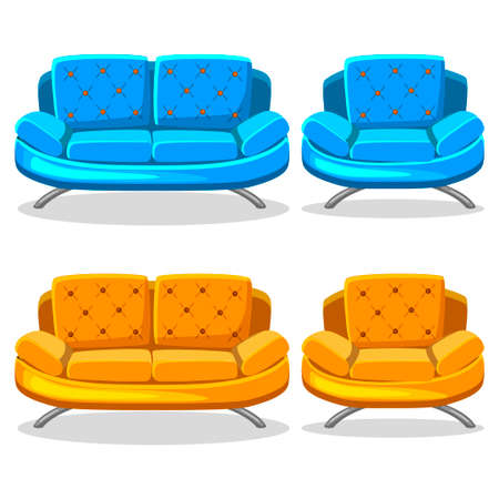 cartoon colorful armchair and sofa, set 10 in vector