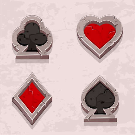 gambling stone: Vector set illustration of stone icons of playings cards, isolated. Series of Gaming and Gambling Illustrations