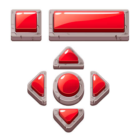 Red Cartoon stone buttons for game or web design, gui elements set