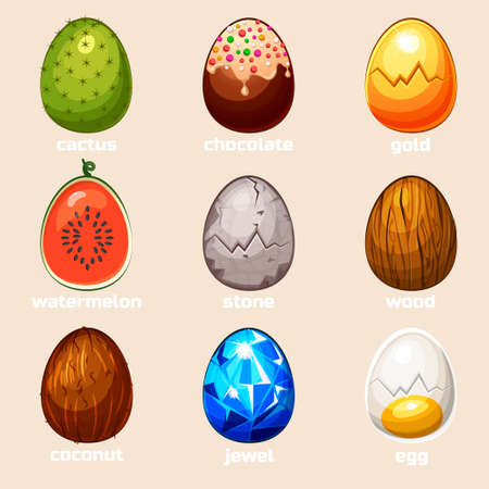 cartoon texture eggs in vector, game Element icons Illustration