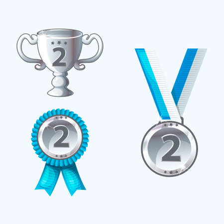 Set silver medals and awards, trophy in vector