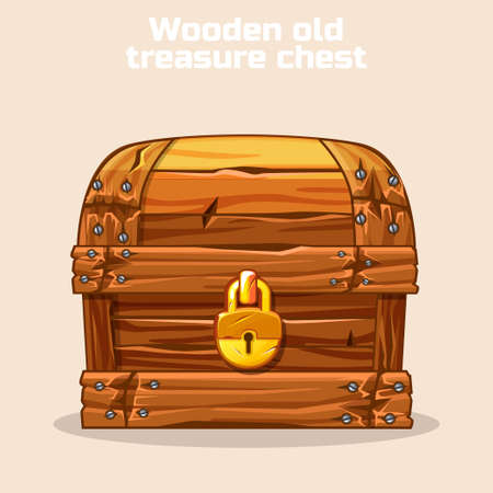 Closed Wooden old antique treasure chest, gold lock, game and UI elements Illustration