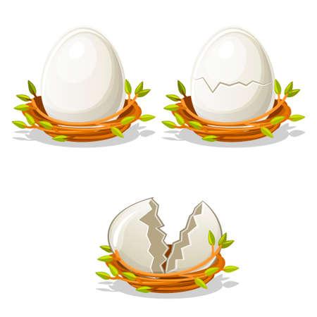 raw chicken: Cartoon funny Egg in birds nest of twigs Illustration