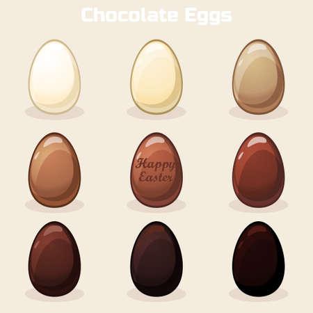 chocolate eggs: Cartoon Vector Easter Chocolate Eggs Illustration