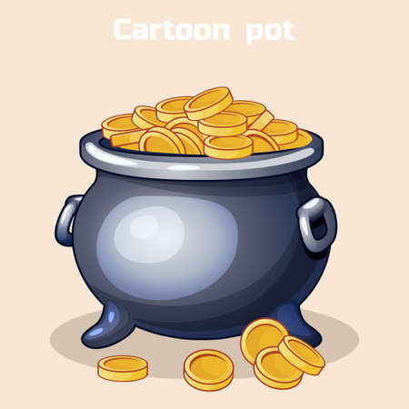 large group of objects: Vector Cartoon metal pot filled with gold coins. Resource gaming element