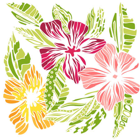 Stylized flowers sketch, colored drawing on white background