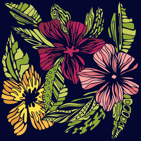 Stylized flowers sketch, colored hand-drawing in vector